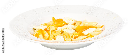 Penne pasta with parmesan, dor blue, chamamber and mozzarella