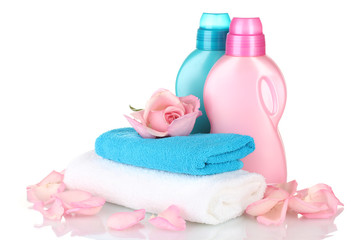 Towel and cleaning isolated on white