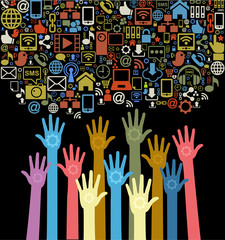 hands of the people with social media icons