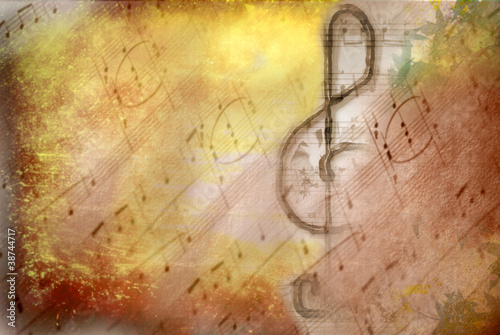 grunge treble clef musical poster - 38744717