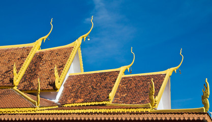Elegant roof liine of modern Buddhist temple.