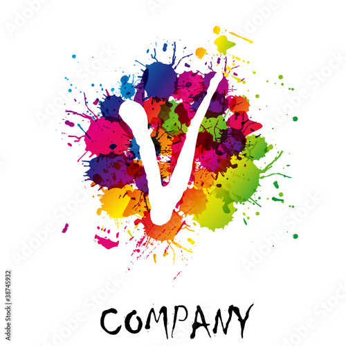 Splash Logo letter V # Vector