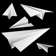 Paper planes set on black background.