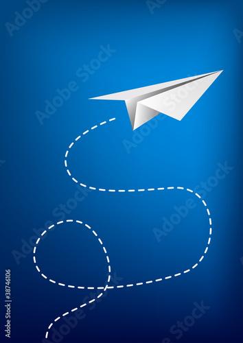 Paper plane flying. - 38746106