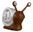 funny slug with email alias - 3d cartoon illustration