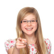 girl with glasses pointing with index finger