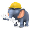 3d Elephant in hardhat with spanner