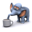 3d Elephant drinks a cup of tea