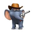 3d Elephant cowboy with pistol