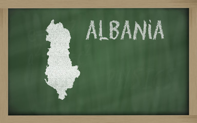 outline map of albania on blackboard