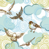 Sky seamless pattern birds flying and clouds