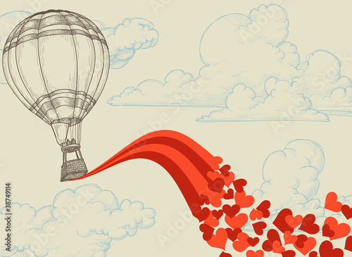 Hot air balloon flying hearts romantic concept - 38749114