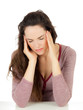 Attractive young woman with migraine