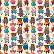 winter animal seamless pattern