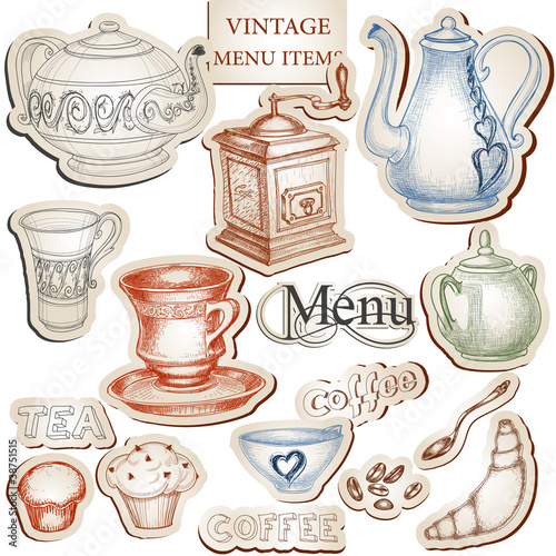 Vintage kitchen tools and food icons set