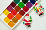 Colorful paints set and new year toys