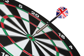 Dartboard bull´s eye. Isolated on white background