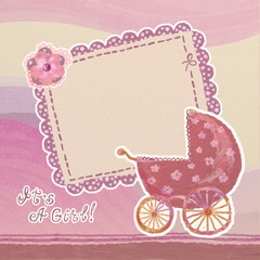 Baby girl arrival card with blank