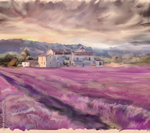 Lavender field in Provence. Watercolor painting © Julia Shepeleva