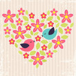 Vintage background with birds in love and flower heart