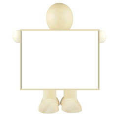 Wooden people  hold blank billboard