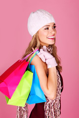 Smiling Woman Out Shopping