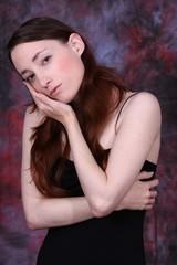 sad young woman, emotions