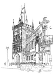 Prague - Powder Tower & Municipal House. Vector architectural dr