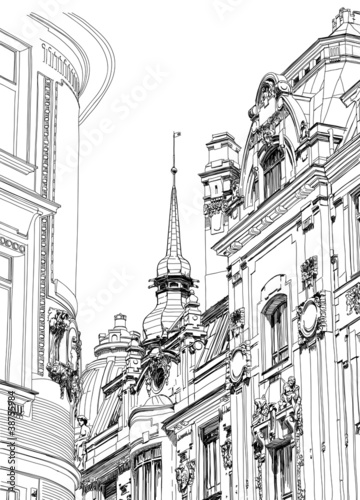 Prague, Czech Republic - architectural drawing of the historic d © Uladzimir