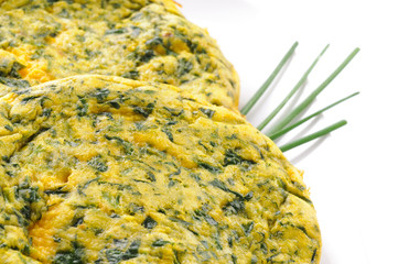 Frittata con spinaci - Omelette with spinach and chive