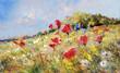 Leinwanddruck Bild - painted poppies on summer meadow
