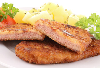 breaded meat and potato