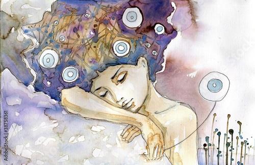 Fototapety, obrazy : kobieta która śpi na swoim ramieniu