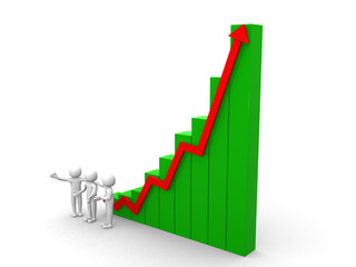 3d people arrow growth success