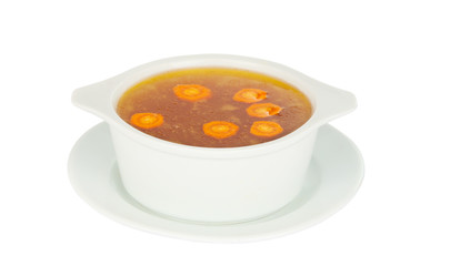 broth in a bowl isolated
