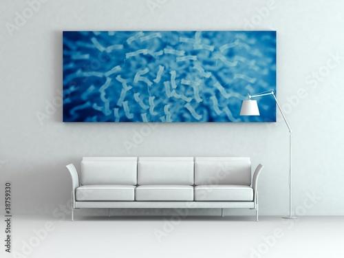 Modell - Sofa mit  Bild blau