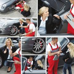 Auto mechanic - customer and motormechanic outdoors