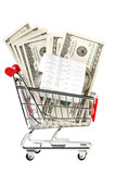 Receipt and cash in shopping cart poster