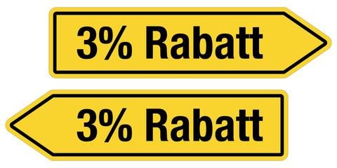 2 Pfeilschilder gelb 3% RABATT