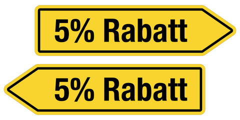 2 Pfeilschilder gelb 5% RABATT