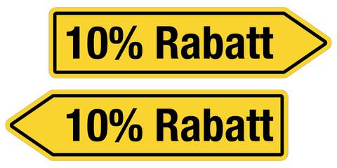 2 Pfeilschilder gelb 10 % RABATT