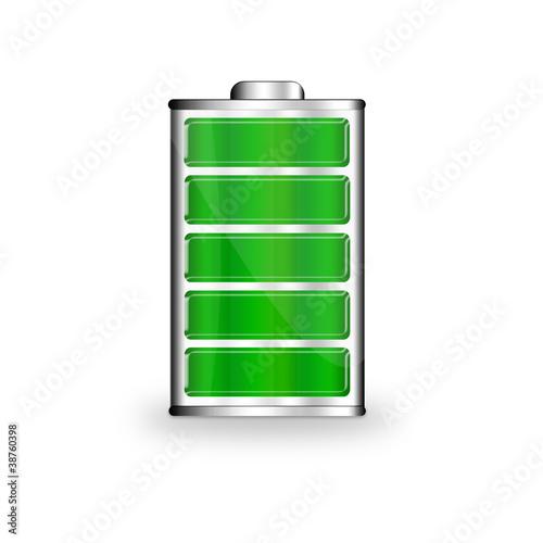 Leinwanddruck Bild Batterie Symbol grün
