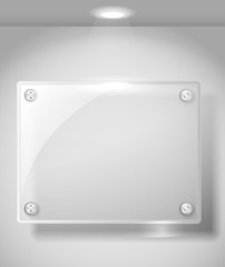 Square advertising glass board with a spot lignt