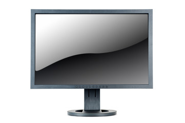 lcd computer monitor with glossy screen, isolated on white