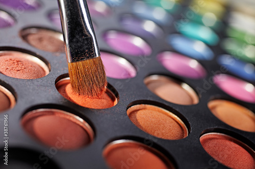 eyeshadow palette and brush