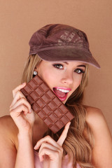 Laughing Woman Holding Chocolate