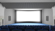 Cinema auditorium, flying into the screen