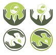 Symbols of human's hands and growing plants.Ecology Concept