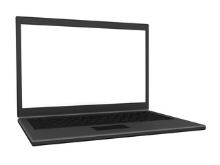 Left view of an isolated laptop with a blank screen. 3D render.