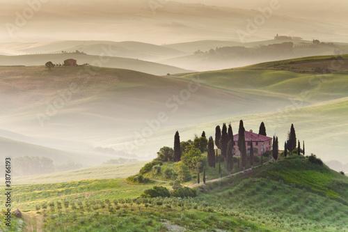 Plagát, Obraz Early morning on countryside, San Quirico d´Orcia, Tuscany, Ital